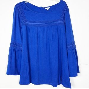 crown & ivy | Women's Blue Peasant Blouse